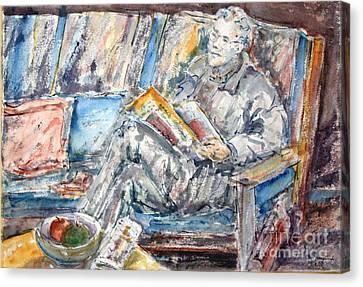 The News Reader Canvas Print by Phong Trinh
