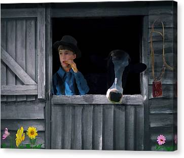 The Old Bell Cow Canvas Print by David Dehner