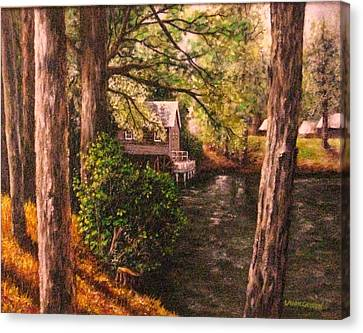 The Old Grist Mill Canvas Print by Laurie Golden
