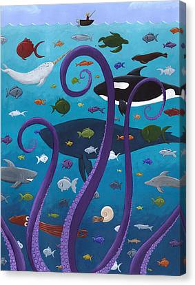 The Old Man And The Sea Monster Canvas Print by Christy Beckwith