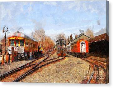 The Old Sacramento Central Train Depot . 7d11513 Canvas Print by Wingsdomain Art and Photography