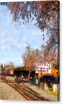 The Old Sacramento Central Train Depot . 7d11527 Canvas Print by Wingsdomain Art and Photography