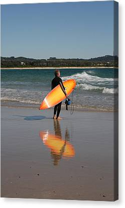 The Orange Surfboard Canvas Print by Jan Lawnikanis