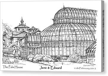 The Palm House For Jane And Edward Canvas Print by Building  Art