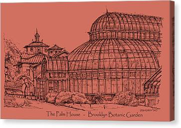 The Palm House In A Salmon Pink  Canvas Print by Building  Art
