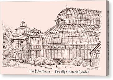 The Palm House In Pink Canvas Print by Building  Art