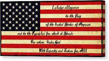 The Pledge Of Allegiance Canvas Print by Bill Cannon