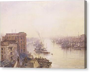 The Pool From The Adelaide Hotel London Bridge Canvas Print by William Wyld