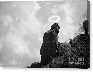 The Praying Monk With Halo - Camelback Mountain Bw Canvas Print by James BO  Insogna