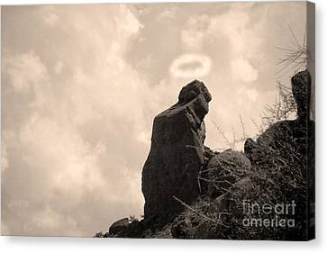 The Praying Monk With Halo - Camelback Mountain Canvas Print by James BO  Insogna