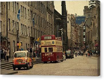 The Princes Street In Edinburgh. Scotland Canvas Print by Jenny Rainbow