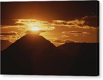 The Pyramid Of The Sun Silhouetted Canvas Print by Kenneth Garrett