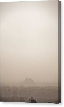 The Pyramids Rise Over The Smog Canvas Print by Taylor S. Kennedy
