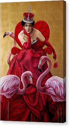 The Queen Of Hearts From Alice In Wonderland Canvas Print by Jose Luis Munoz Luque