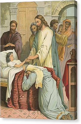 The Raising Of Jairus' Daughter Canvas Print by English School