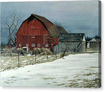 The Red Barn Canvas Print by Robert Hinves