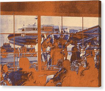 The Restaurant At Schiphol Orange Canvas Print by Nop Briex