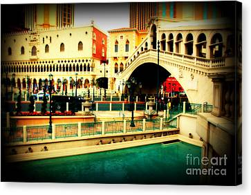 The Rialto Bridge Of Venice In Las Vegas Canvas Print by Susanne Van Hulst