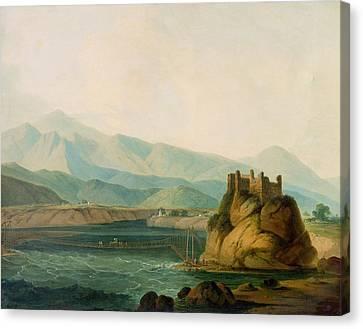 The Rope Bridge At Serinagur Canvas Print by Thomas Daniell