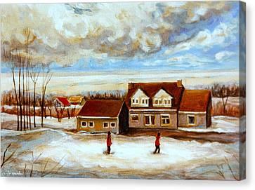The Schoolhouse Winter Morning Quebec Rural Landscape Canvas Print by Carole Spandau