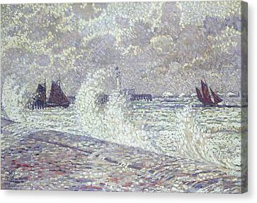 The Sea During Equinox Boulogne-sur-mer Canvas Print by Theo van Rysselberghe