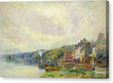 The Seine At Croisset Canvas Print by Albert Charles Lebourg