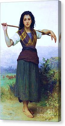 The Shepherdess Canvas Print by Pg Reproductions