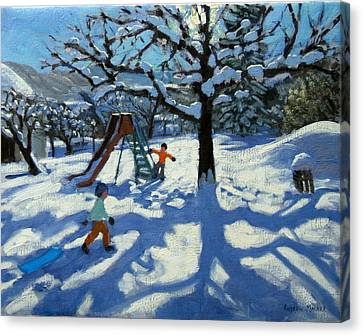 The Slide In Winter Canvas Print by Andrew Macara