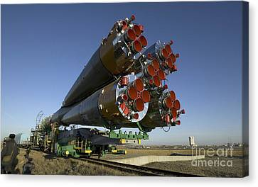The Soyuz Rocket Is Rolled Canvas Print by Stocktrek Images