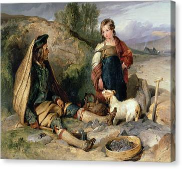 The Stone Breaker And His Daughter Canvas Print by Sir Edwin Landseer