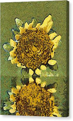 The Sunflower Reflection Canvas Print by Odon Czintos