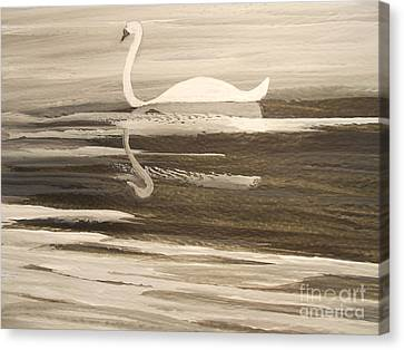 The Swans Song....melody Of Motherhood Canvas Print by Barbara McNeil