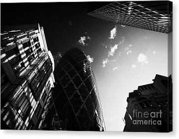 The Swiss Re Gherkin Building At 30 St Mary Axe City Of London England Uk United Kingdom Canvas Print by Joe Fox