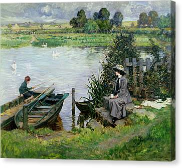 The Thames At Benson Canvas Print by Albert Chevallier Tayler