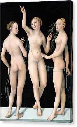 The Three Graces Canvas Print by Lucas Cranach the Elder