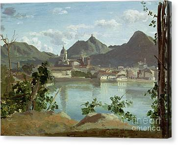 The Town And Lake Como Canvas Print by Jean Baptiste Camille Corot