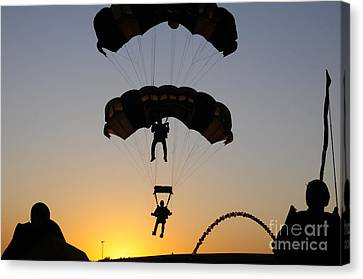 The U.s. Army Golden Knights Perform An Canvas Print by Stocktrek Images