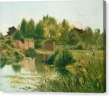 The Village Pond Canvas Print by Ernest Parton