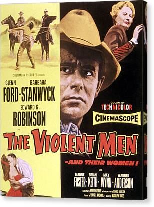 The Violent Men, Glenn Ford, Barbara Canvas Print by Everett