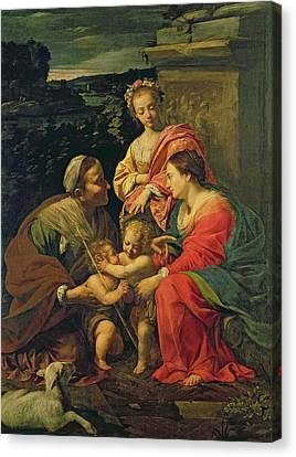The Virgin And Child With Saints Canvas Print by Simon Vouet