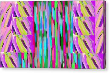 The Waves Violet Turquoise Pink Green Canvas Print by Rosana Ortiz