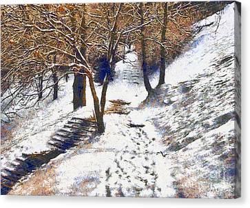 The Winter Park Canvas Print by Odon Czintos