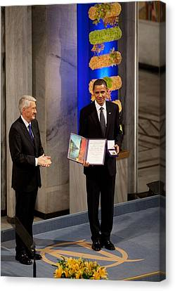 Thorbjorn Jagland Presents President Canvas Print by Everett