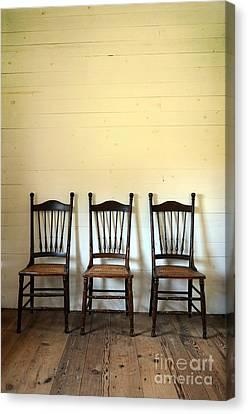 Three Antique Chairs Canvas Print by Jill Battaglia