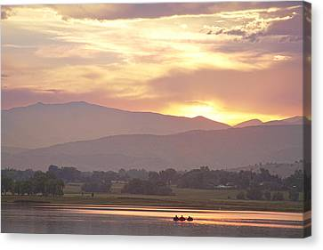 Three Belly Boats Golden Scenic View Canvas Print by James BO  Insogna
