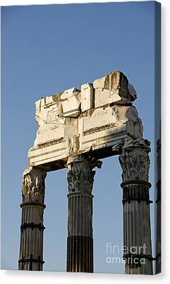 Three Columns And Architrave Temple Of Castor And Pollux Forum Romanum Rome Italy. Canvas Print by Bernard Jaubert