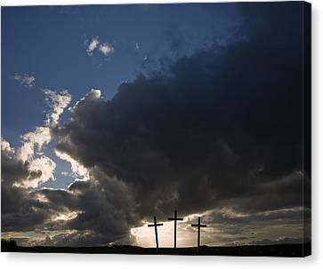 Three Crosses, West Yorkshire, England Canvas Print by John Short