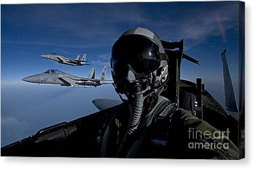Three F-15 Eagles Fly High Canvas Print by HIGH-G Productions