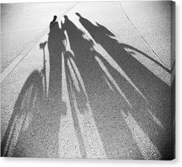 Three Friends On Bikes Canvas Print by Julie Niemela