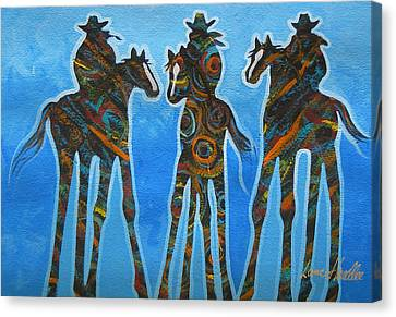 Three In The Blue Canvas Print by Lance Headlee